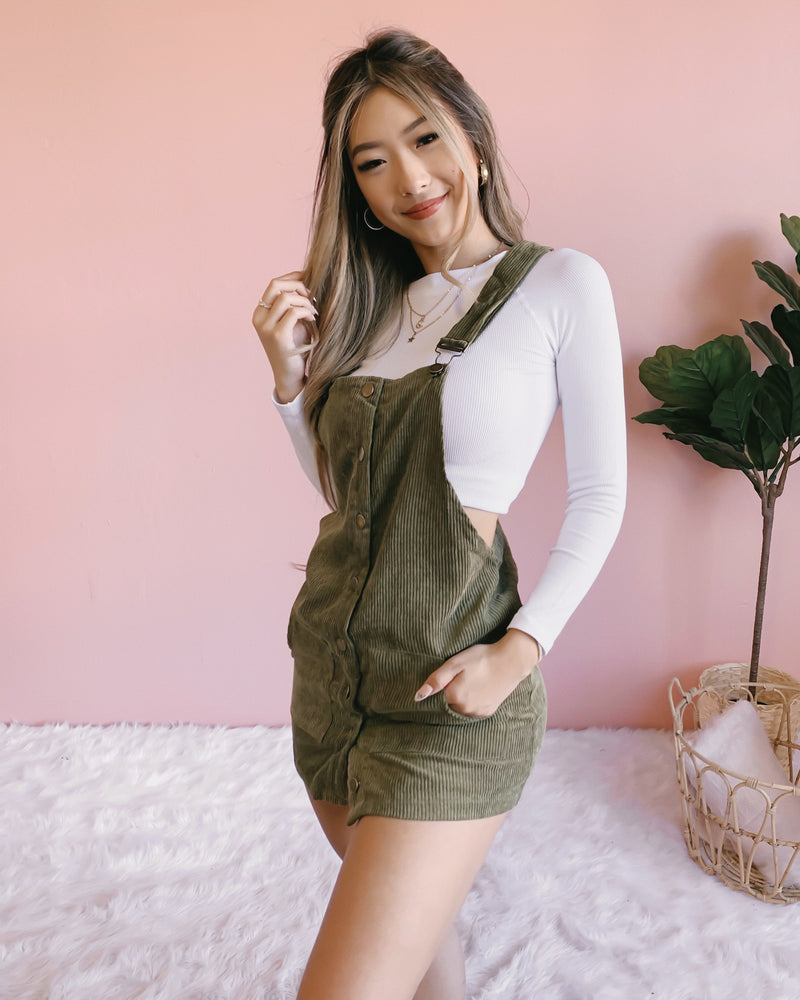 AUTUMN LEAVES CORDUROY OVERALL (OLIVE)