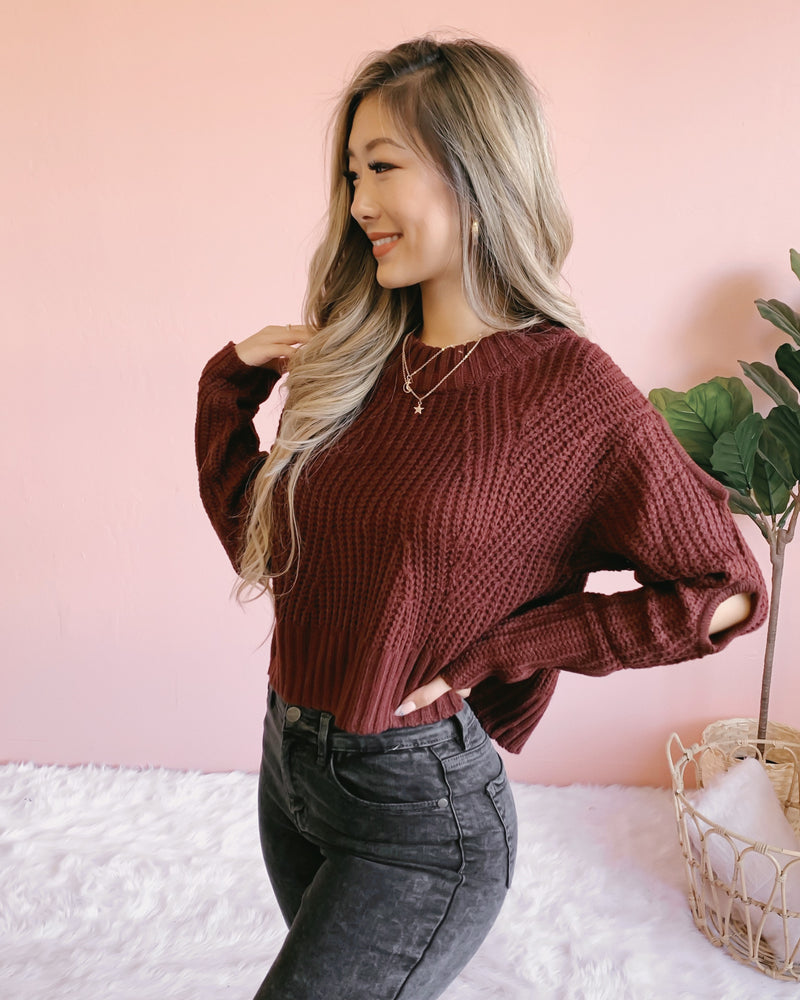 RESTOCKED! GIVE ME CHILLS SWEATER (BURGUNDY)