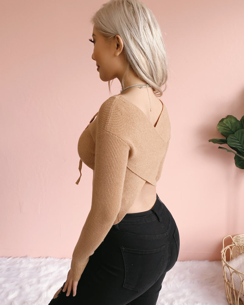 REVERSIBLE! DON'T CROSS ME KNIT TOP (OLIVE)