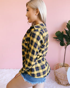 RESTOCKED! CAMP FIRE CUTIE FUR-LINED JACKET (YELLOW/BLACK)