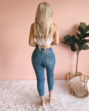 RESTOCKED! CAMILA DISTRESSED MID-RISE SKINNY JOGGERS (LIGHT WASH)