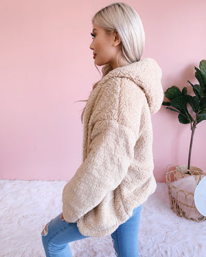 NEW COLOR!! REVERSIBLE!! ON CLOUD NINE TEDDY JACKET (IVORY/BEIGE)