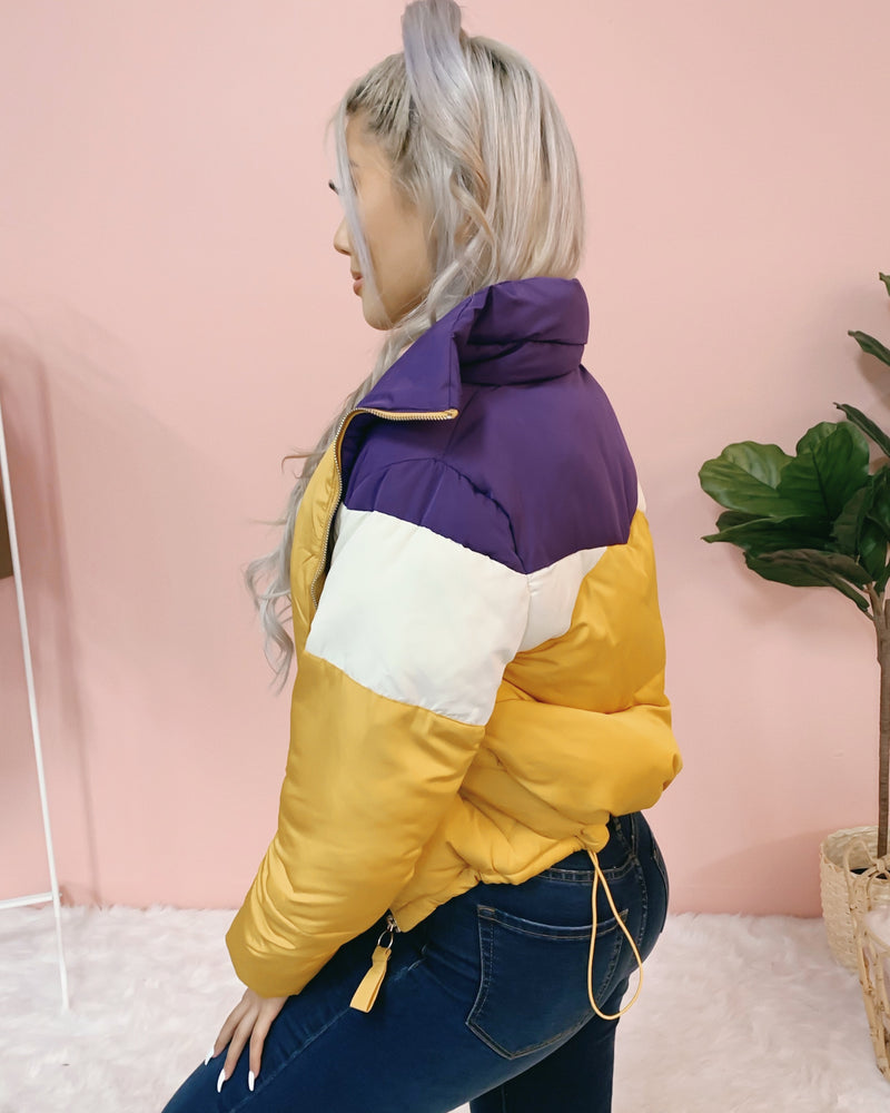 RESTOCKED! READY FOR WINTER PUFFER JACKET (PURPLE/YELLOW)