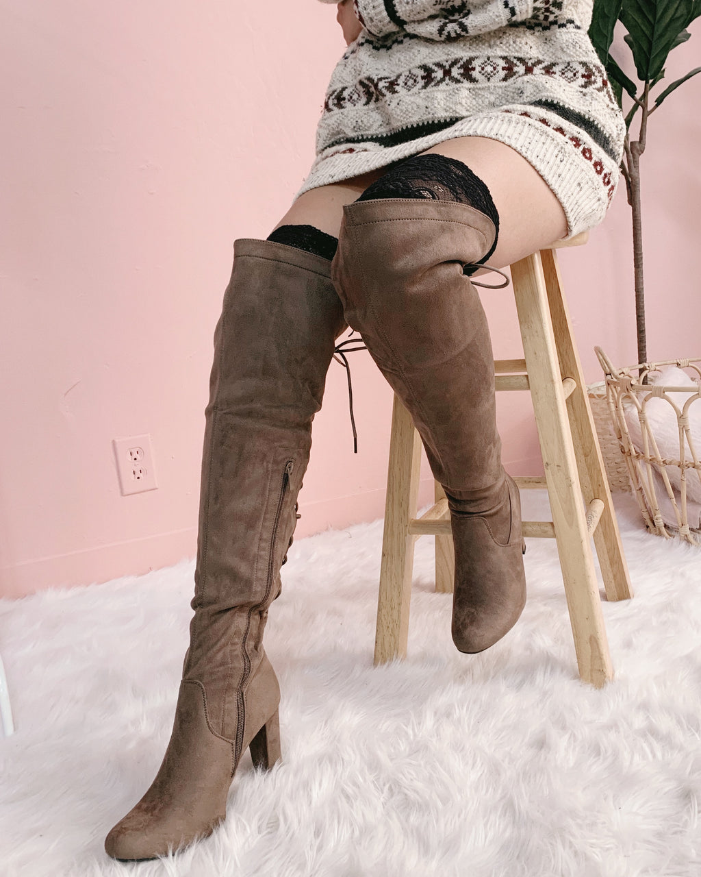 RESTOCKED! MADE FOR YOU THIGH BOOTIE (DARK TAUPE)