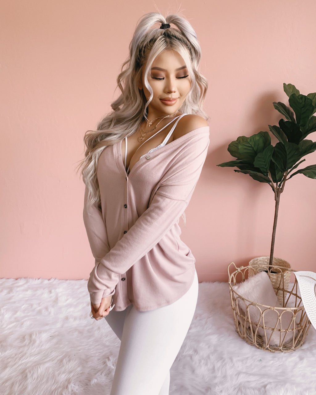 BRIANNA BUTTON UP TOP (BLUSH)