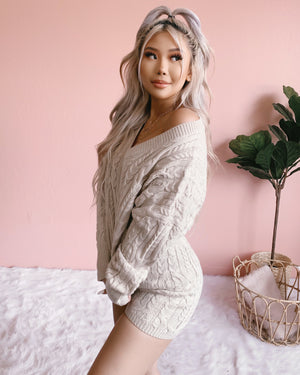 COME OVER KNIT LOUNGE SET (CREAM)