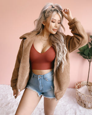 NEW COLOR!! NO CHILLS OVERSIZED TEDDY JACKET (BLUSH)