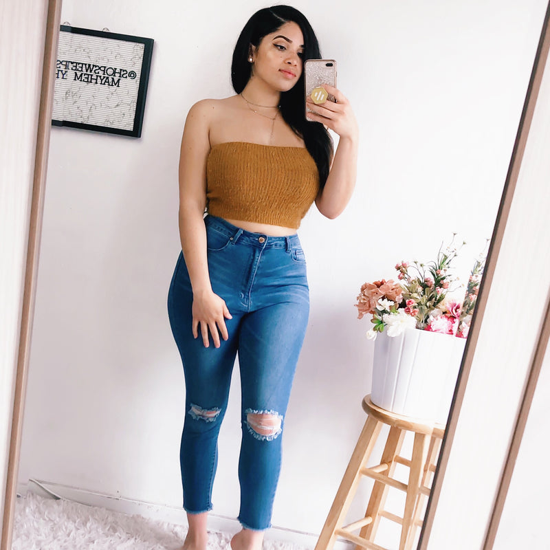 SASHA FUZZY TUBE TOP (CAMEL)