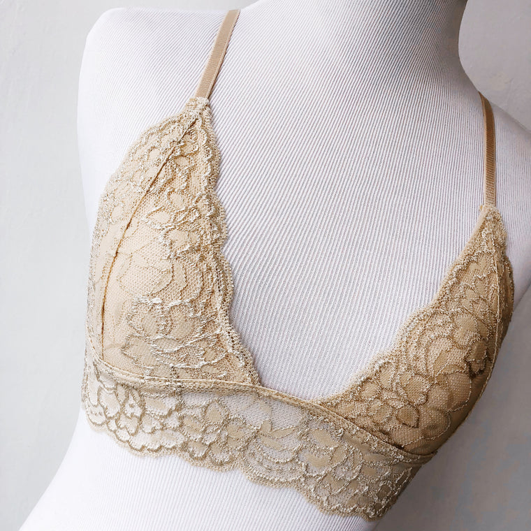 Leila Laced Bralette (BEIGE) - FULLY STOCKED