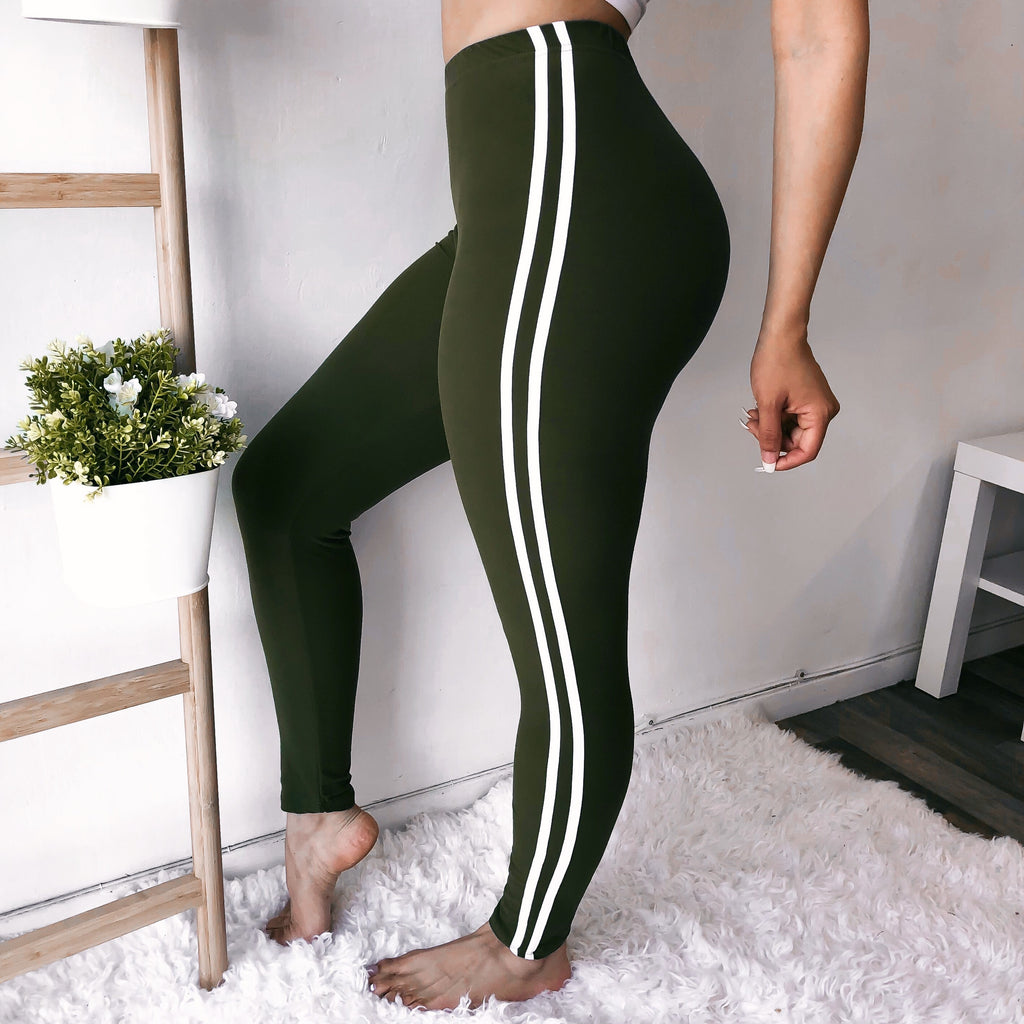 RESTOCKED! SOFTEST SPORTY LEGGINGS EVER (OLIVE)