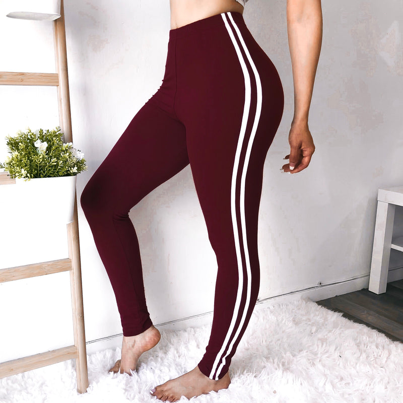 RESTOCKED! SOFTEST SPORTY LEGGINGS EVER (MAROON)