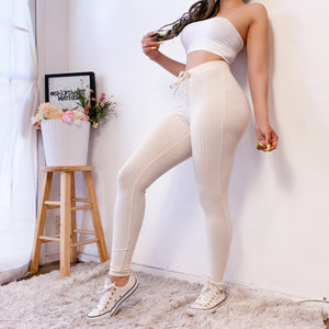 RESTOCKED! RIANNA RIBBED LEGGINGS (OATMEAL)