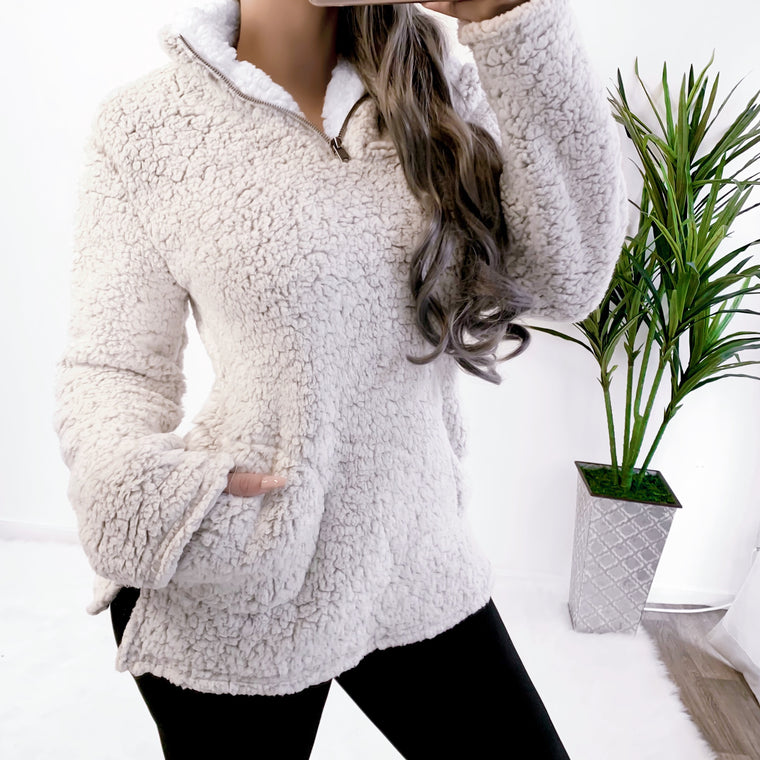 ULTRA SOFT TEDDY JACKET (TAUPE)