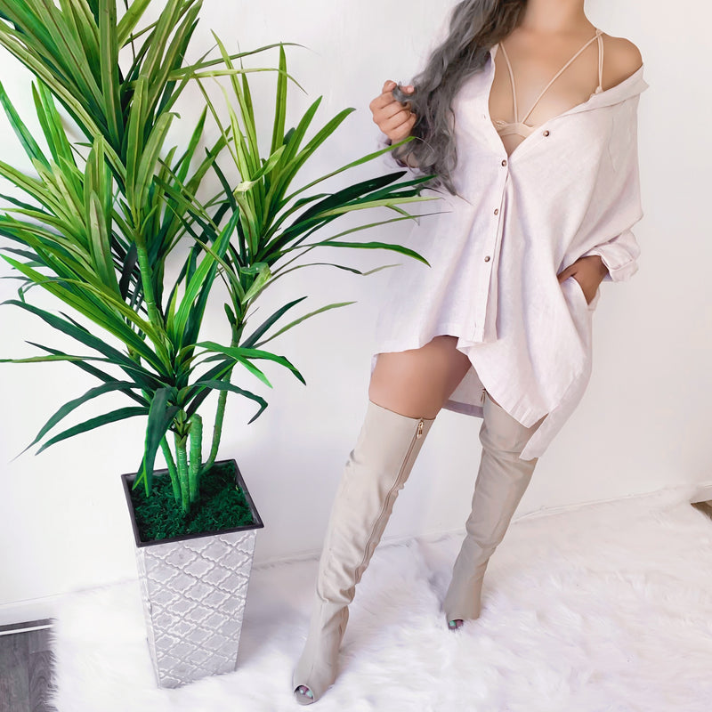 RESTOCKED! OVERNIGHT OVERSIZED BUTTON UP TOP/DRESS (BEIGE)