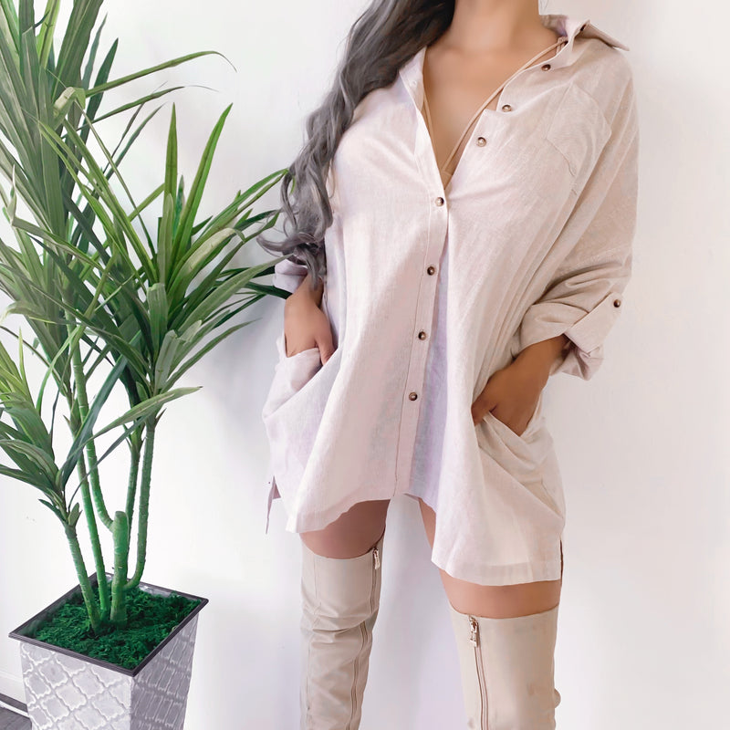 RESTOCKED! OVERNIGHT OVERSIZED BUTTON UP TOP/DRESS (GRAY)