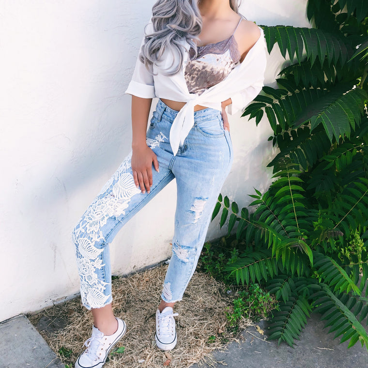 CINDY CROCHET DISTRESSED DENIM - FULLY STOCKED