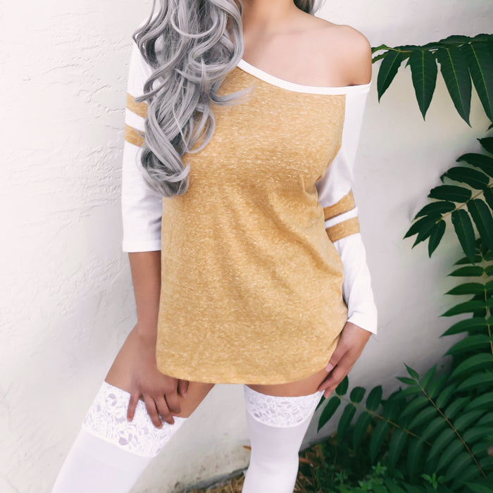 OFF THE FIELD OVERSIZED BASEBALL TEE (MUSTARD) - SMALL/MEDIUM