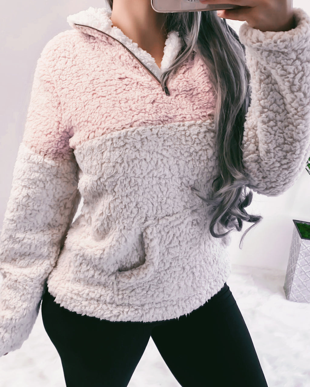 2-TONED ULTRA SOFT TEDDY SWEATER (BLUSH)