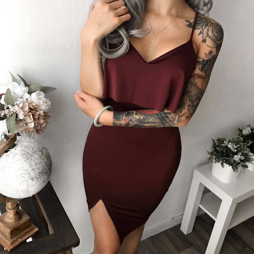Brylee Ruffle Dress (MOCHA)