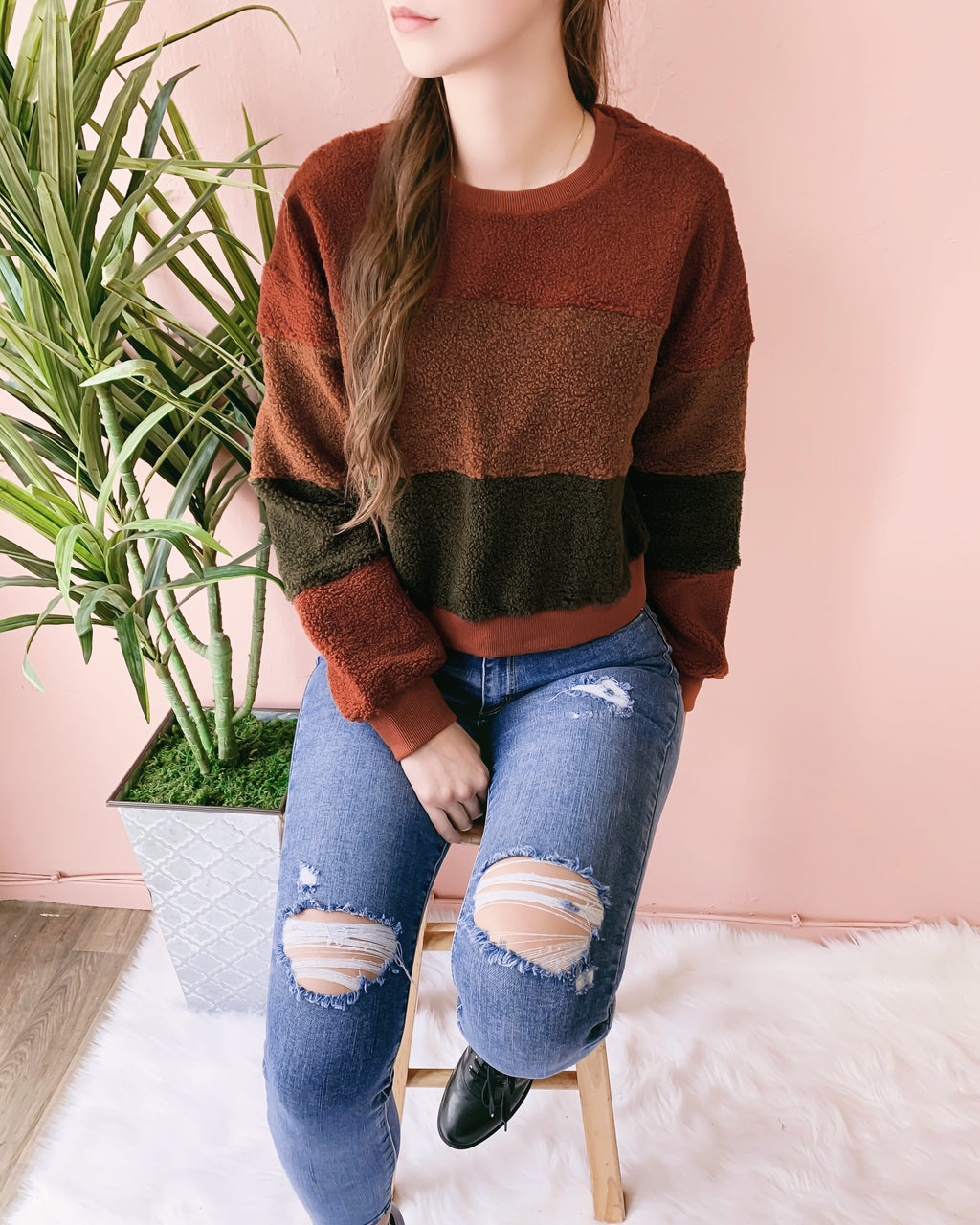 WINNIE TEDDY COLOR BLOCK SWEATER
