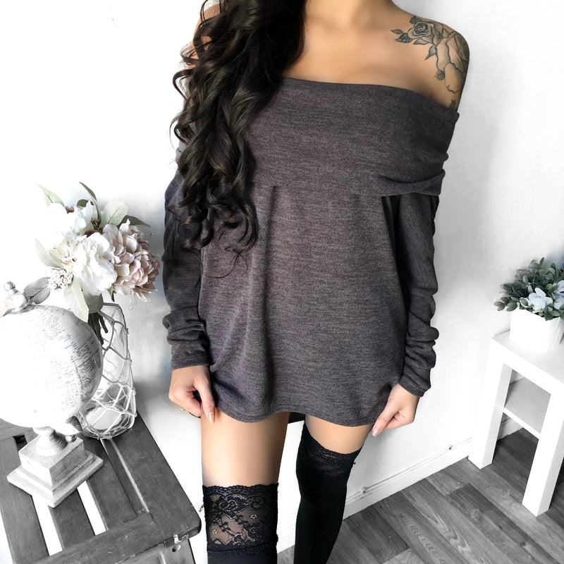 S/M ONLY - Kayleigh Off Shoulder Oversized Sweater (MOCHA)