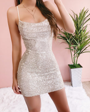 BADDEST BABE SEQUIN DRESS (BLUSH)