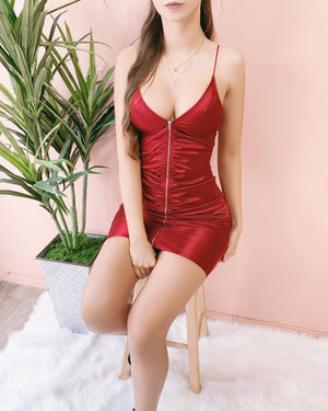 LOVE AT FIRST SIGHT RUCHED DRESS (BURGUNDY)