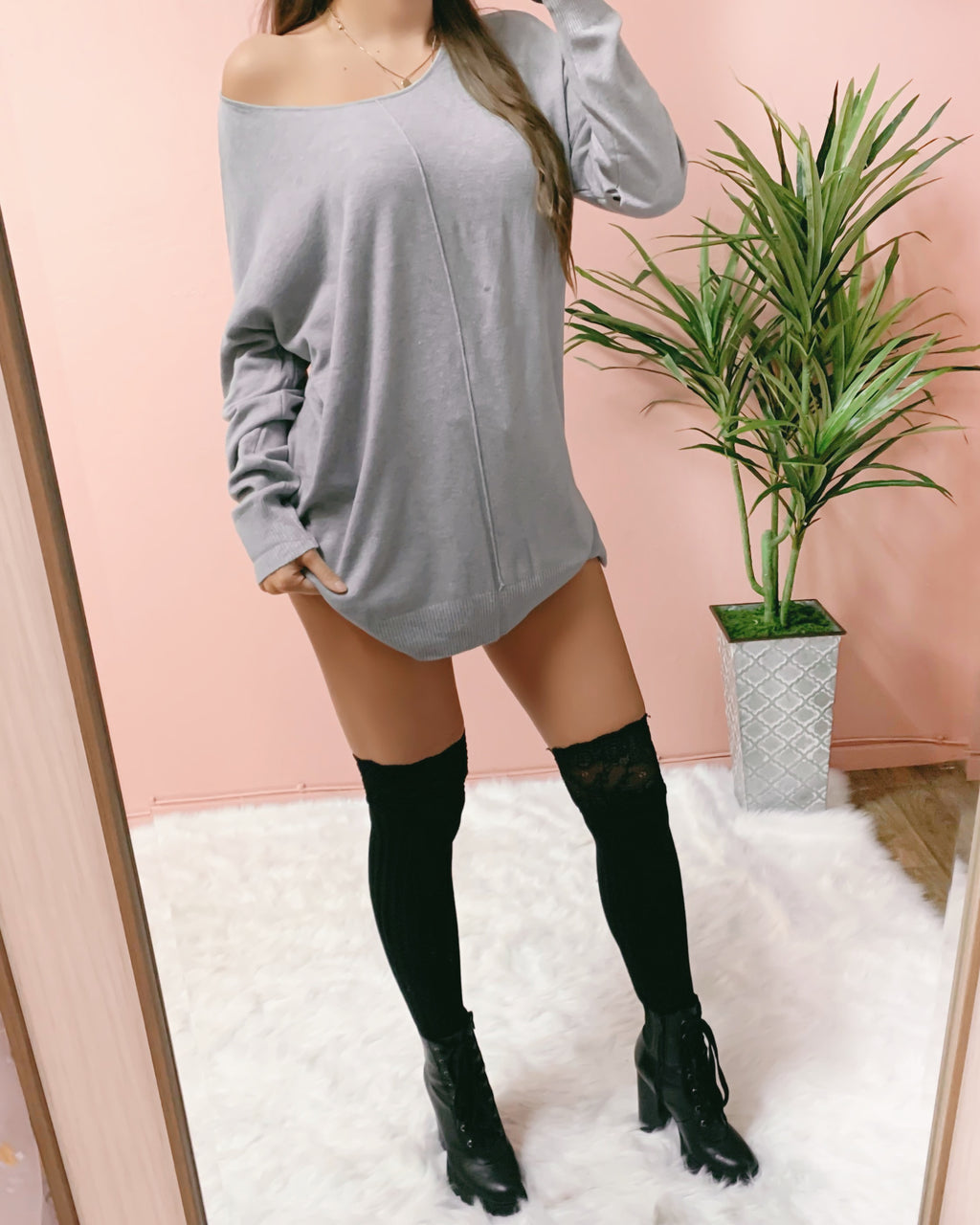 CRUSHIN' ON YOU SWEATER DRESS (GREY)