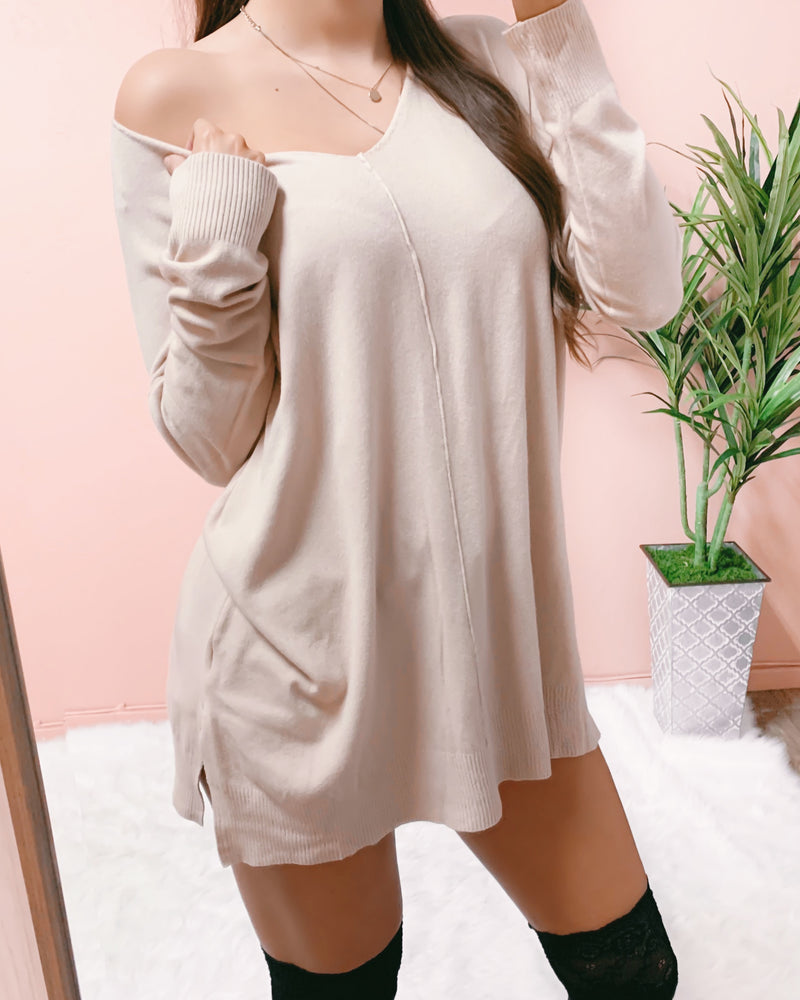HEAT THINGS UP SWEATER DRESS (OATMEAL)