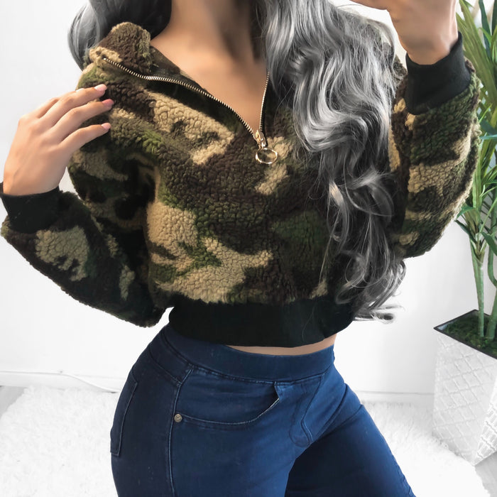 KARA CAMO CROPPED SWEATER - LARGE