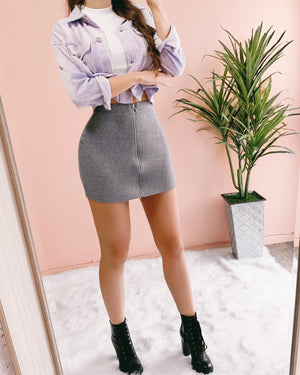 BIANCA RIBBED SKIRT (COOL GREY)