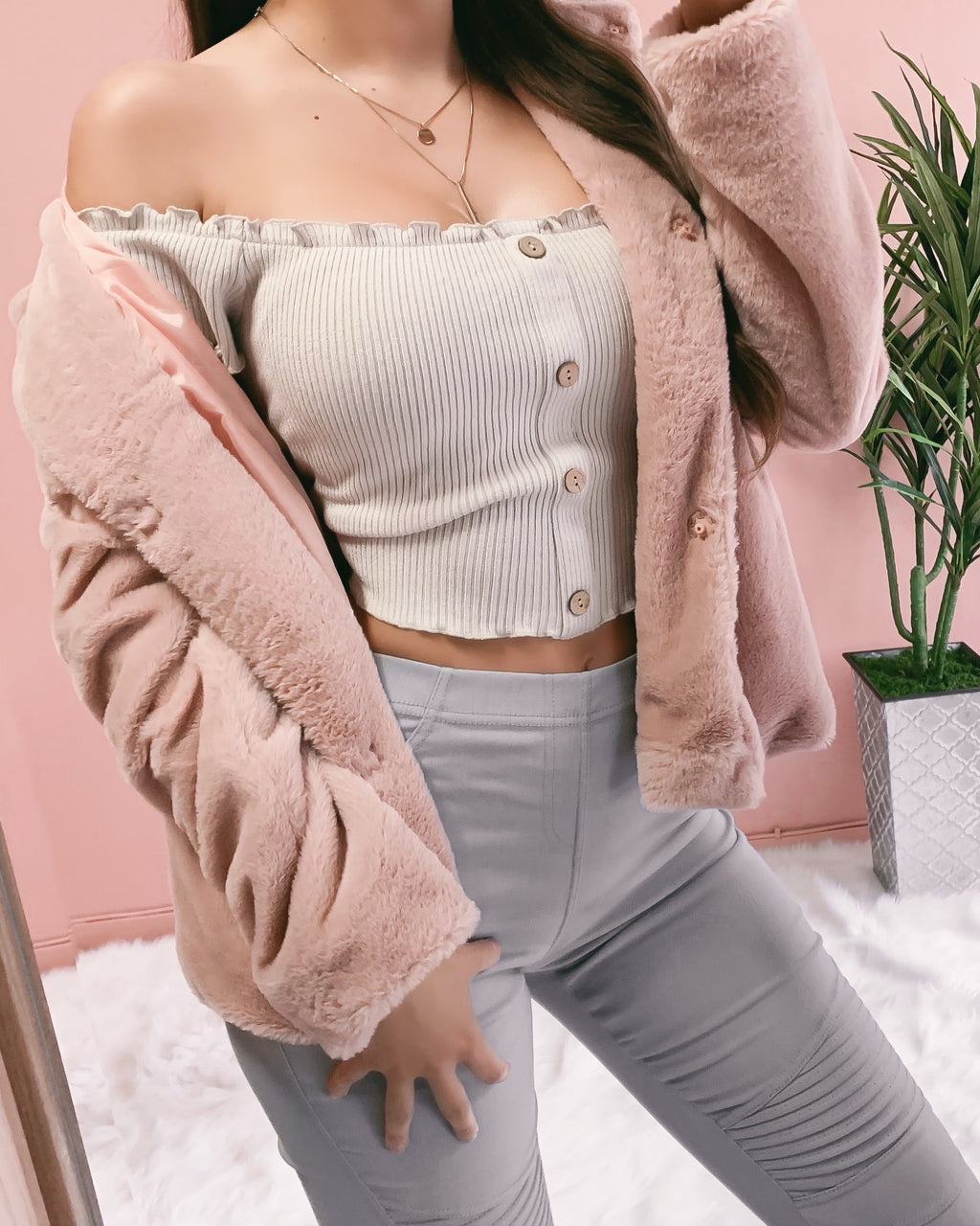 SOFT AS A FEATHER HOODED TEDDY JACKET (BLUSH)