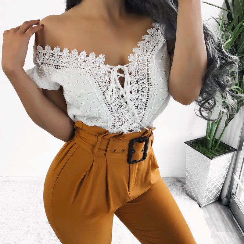 RESTOCKED! MELODY HIGH WAIST PAPERBAG PANTS (CAMEL)