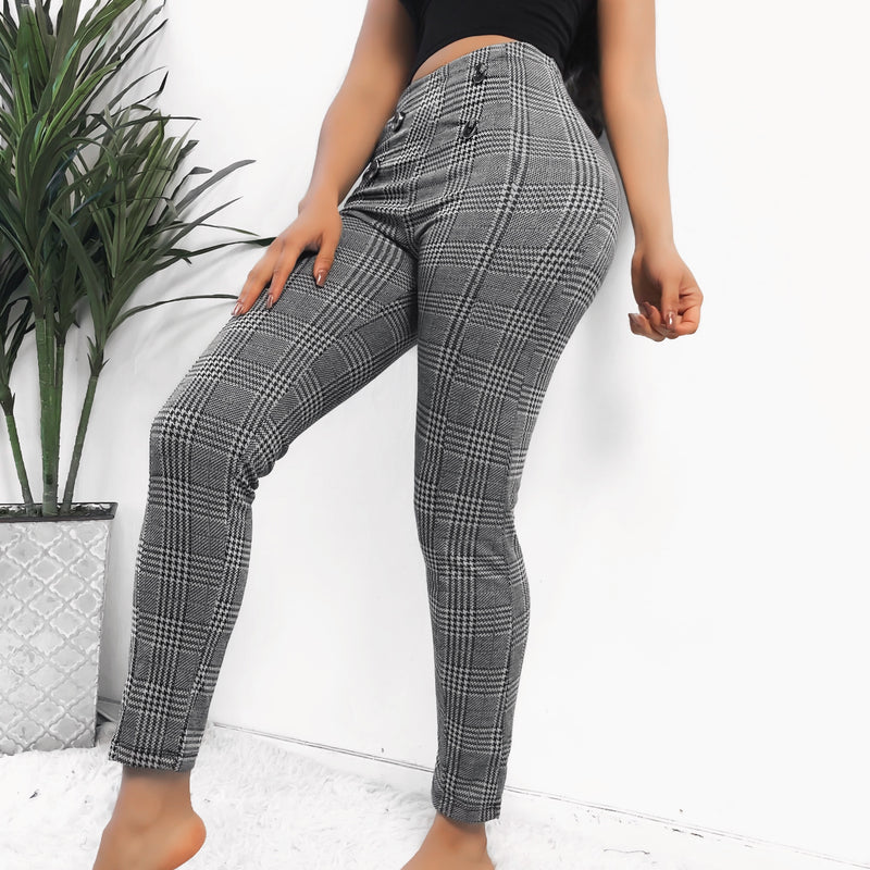 TYRA BUTTON PLAID PANTS (RED)