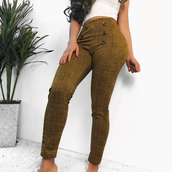 TYRA BUTTON PLAID PANTS (BLACK)