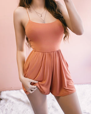 COME & GET ME STRAPPY BACK ROMPER (CHERRY)