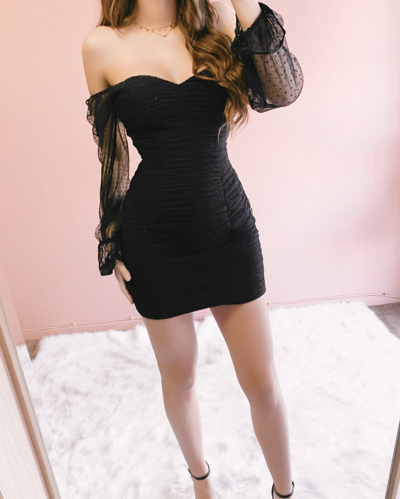 PICTURE PERFECT MESH DRESS (BLACK)