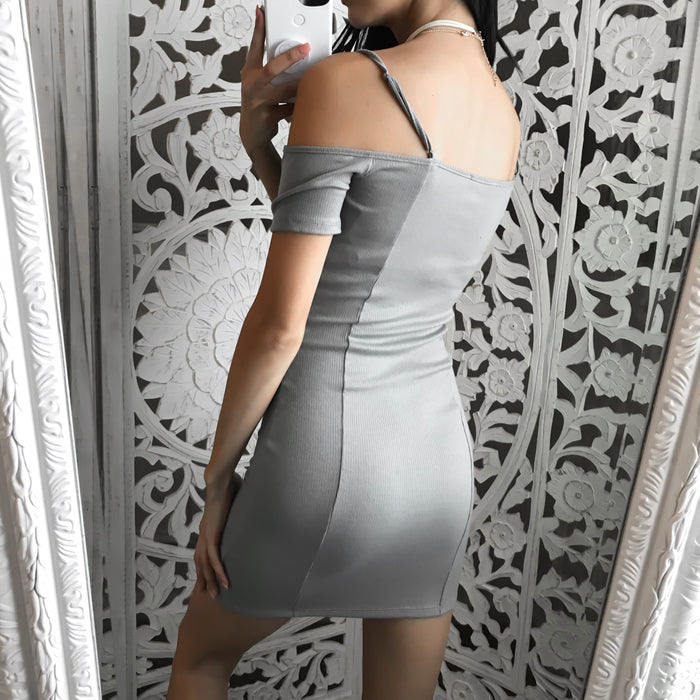 FULLY STOCKED - Take Me Home Ribbed Dress (GREY)