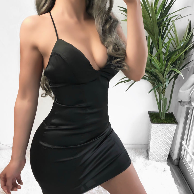 SELINE SATIN DRESS (BLACK)