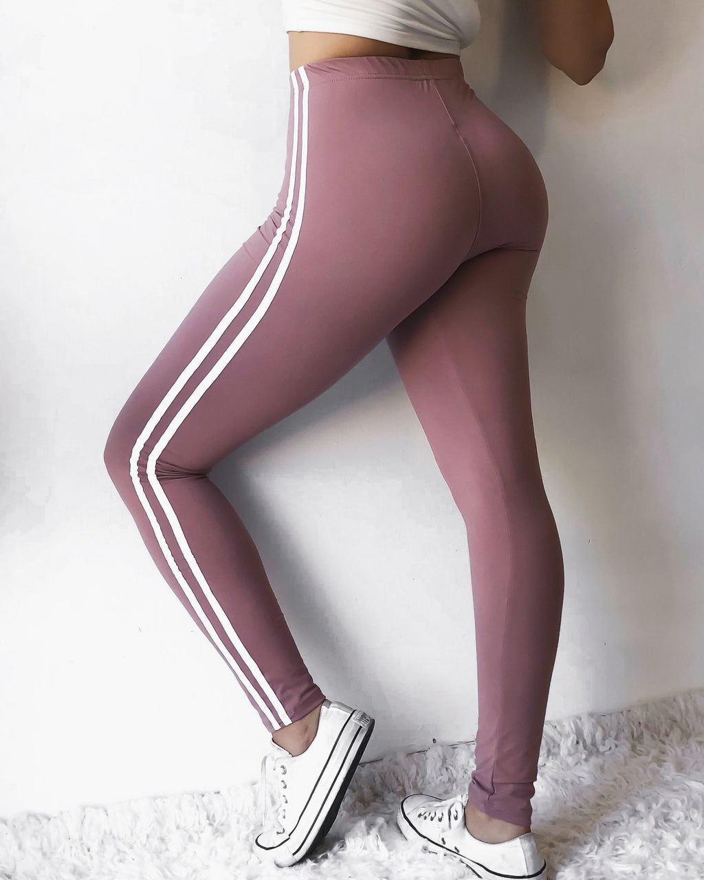 RESTOCKED! SOFTEST SPORTY LEGGINGS EVER (MAUVE)