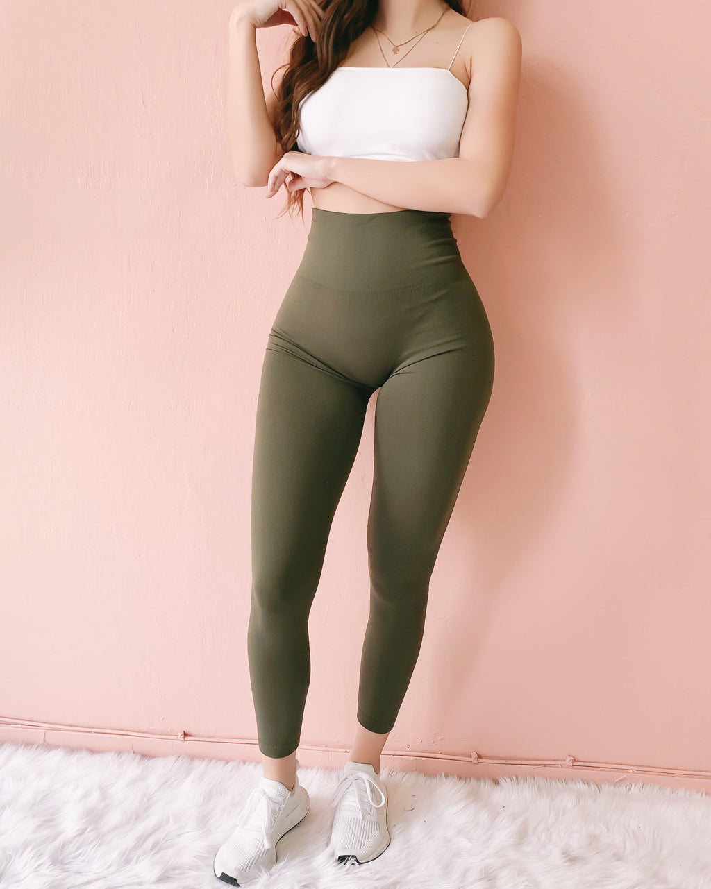 RESTOCKED! FIREPLACE FLEECE HIGH WAIST LEGGINGS (OLIVE)