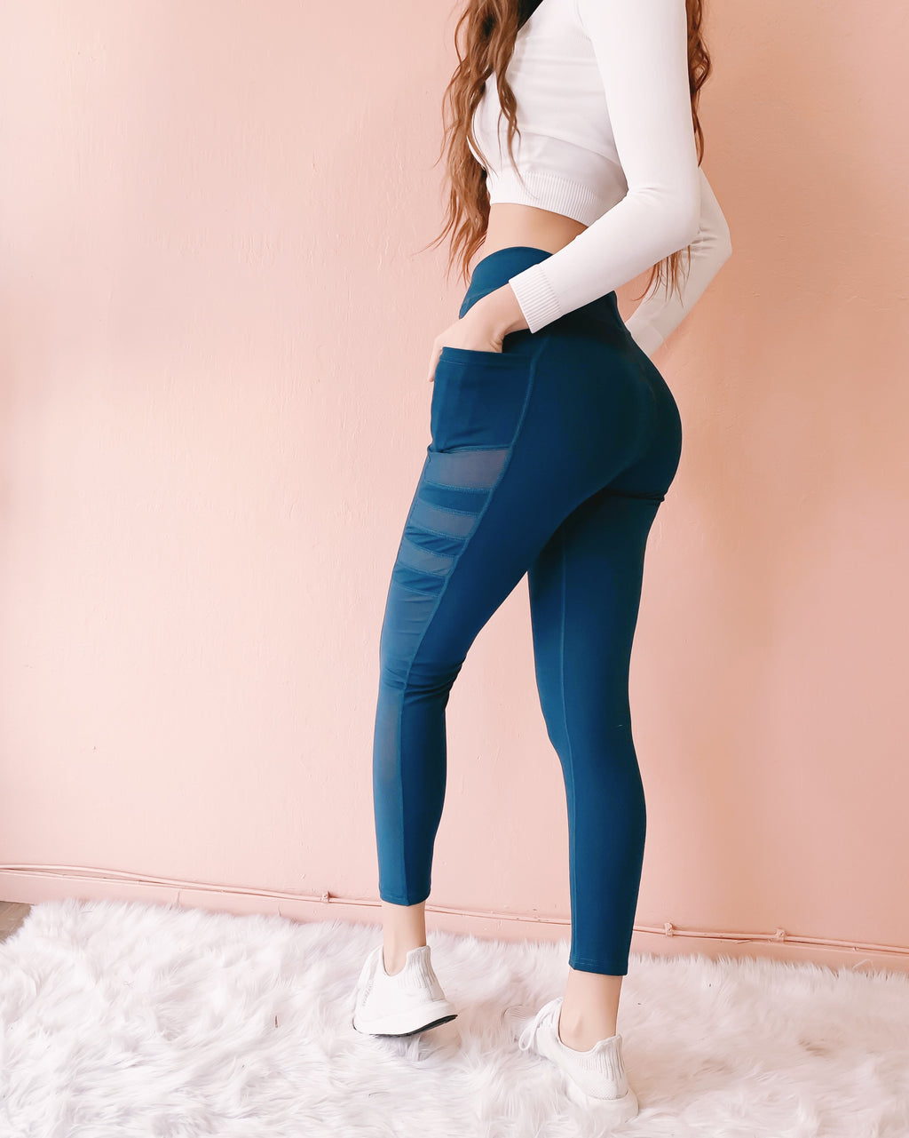NEW COLOR! MILEY MESH LEGGINGS WITH POCKETS (TEAL)