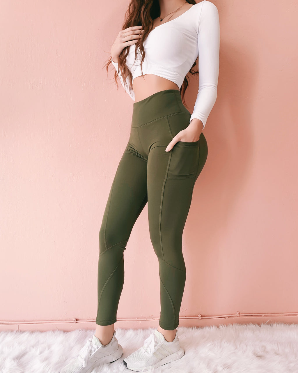 NEW YEAR NEW ME HIGH WAISTED LEGGINGS WITH POCKETS (OLIVE)