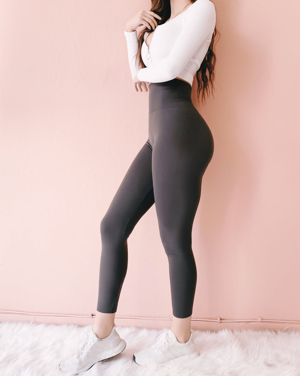 FIREPLACE FLEECE HIGH WAIST LEGGINGS (CHARCOAL)