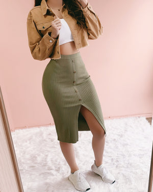 RESTOCKED! FRANKIE RIBBED MIDI SKIRT (OLIVE)