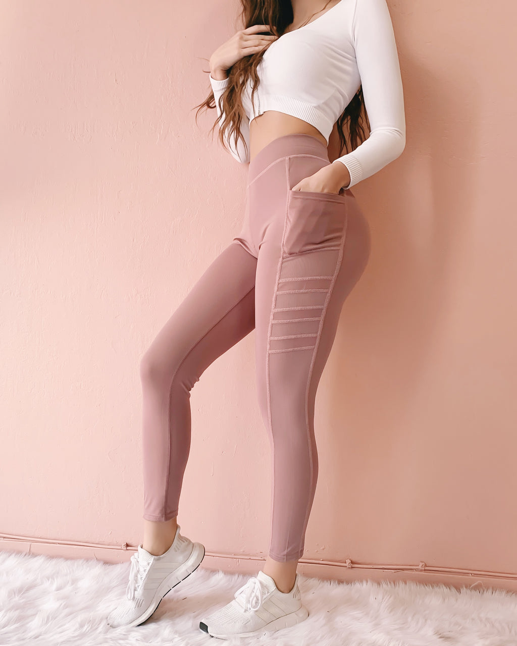 NEW COLOR! MILEY MESH LEGGINGS WITH POCKETS (DARK BLUSH)