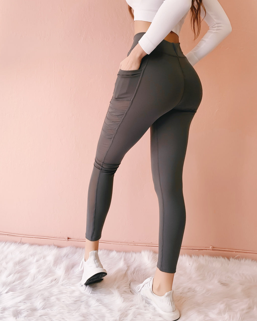 NEW COLOR! MILEY MESH LEGGINGS WITH POCKETS (CHARCOAL)