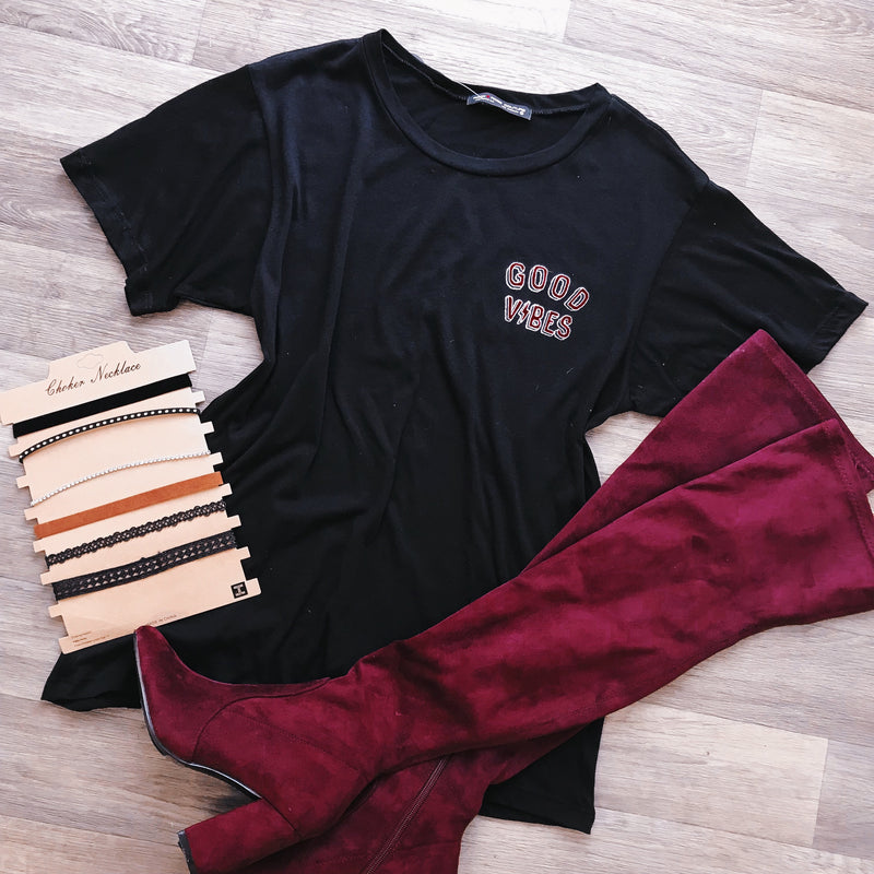 Good Vibes Oversized Tee (BLACK)
