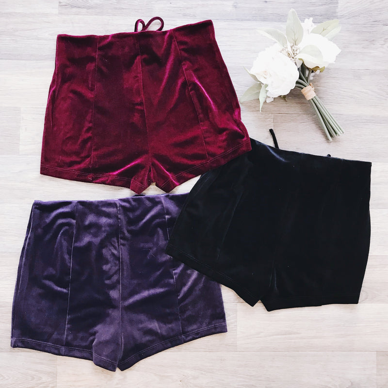 Layla Lace Up Velvet Shorts (WINE) - FULLY STOCKED