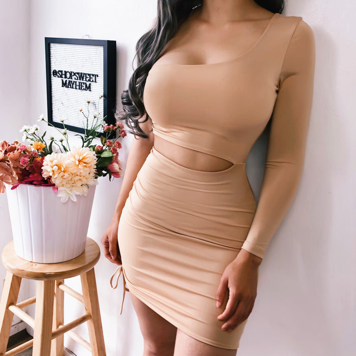 NOVA ONE SLEEVE DRESS (NUDE)